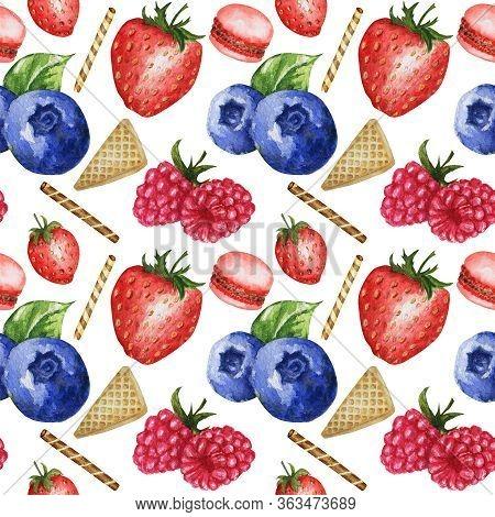 Sweet strawberries. Strawberries in sour cream. illustration on white.