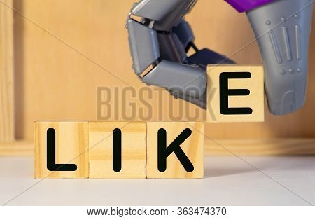 Like Message On White Background, The Word Like Written In Plastic Blocks, Like Concept.