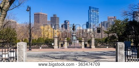 Panorama George Washington Statue sculpture monument in Boston Common Park between in Boston downtown crossing and Boston back bay district in Massachusetts of New England the United States.