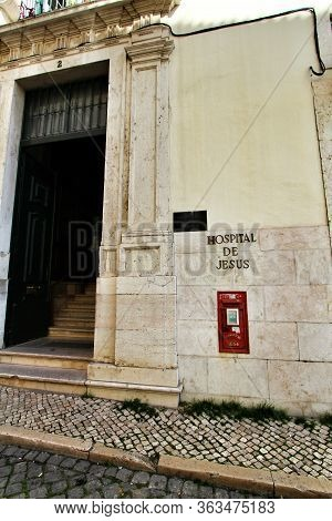 Lisbon, Portugal- March 7, 2020: Private Clinic Called The Hospital De Jesus In Lisbon Specially Foc