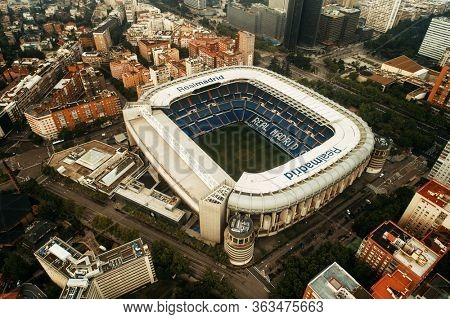 MADRID, SPAIN – MAY 13, 2018: Santiago Bernabeu Stadium has been the home stadium of Real Madrid since its completion in 1947.