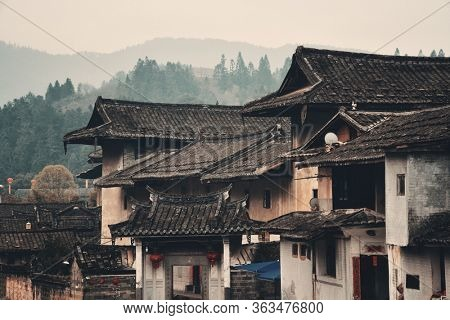 FUJIAN, CHINA – MARCH 2, 2018: Traditional rural buildings of Hakka in Fujian province, China.