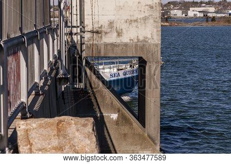 Fairhaven, Massachusetts, Usa - April 23, 2020: Glimpse Of Bow Of Deep Sea Fishing Boat Sea Queen Ii