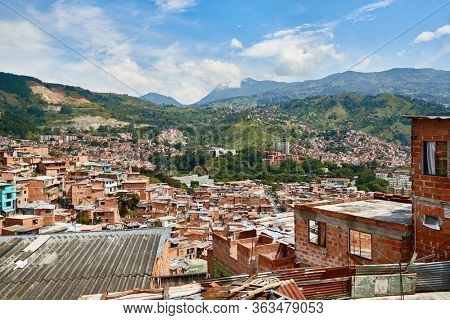 Panoramic view of the district Comuna 13 in Medellin, Colombia, known as previous territory of drug cartels and conflicts