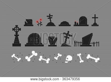 Pixel Art Set Of Tombstones Different Forms. Collection Of Gravestones. Vector Illustration.