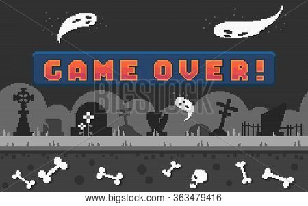 Pixel Arcade Banner With Button Game Over For Game Design. Pixel Art Arcade Screen With Cemetery Lan