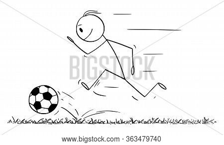 Vector Cartoon Stick Figure Drawing Conceptual Illustration Of Man Or Football Player Running With B