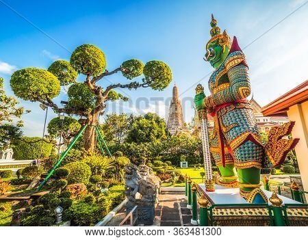 Demon (giant Or Yak) Guardian At Temple Of Dawn (wat Arun Ratchawararam Ratchawaramahawihan Or Wat A