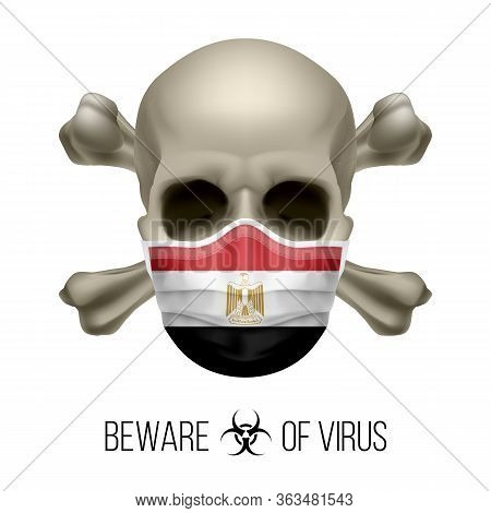 Human Skull With Crossbones And Surgical Mask In The Color Of National Flag Egypt. Mask In Form Of T