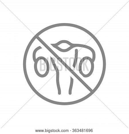 Forbidden Sign With A Woman Uterus Line Icon. Amputation Internal Organ, No Uterus Symbol