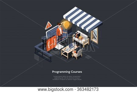 Concept Of Online Programming Courses. Man Has An Remotely Course Of Programming. Character Study On