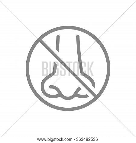 Forbidden Sign With A Nose Line Icon. Amputation Internal Organ, No Olfactory System Symbol