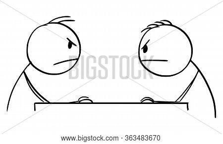 Cartoon Stick Figure Drawing Conceptual Illustration Of Two Angry Men Or Businessmen Sitting At Tabl