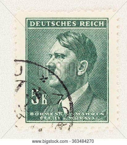 Seattle Washington - April 25, 2020: Portrait Of Adolf Hitler On Bohemia And Moravia Deutsches Reich