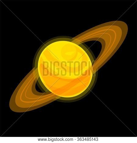 Saturn Cartoon Illustration Isolated On Black Background. Jupiter Vector Icon. Yellow Planet With Ri