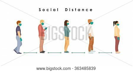 Social Distance. Full Length Of Cartoon Sick People In Medical Masks And Gloves Standing In Line Aga