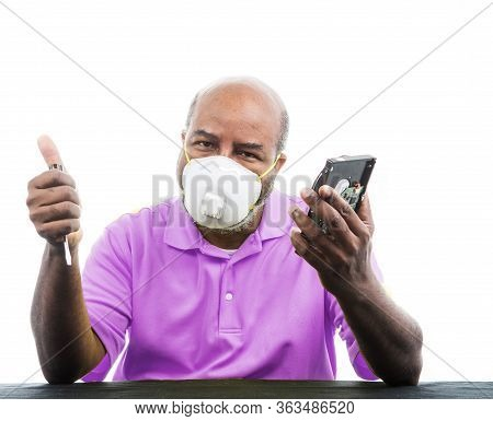 African American Man Hard Drive And Thumbs Up And Medical Mask To Prevent Covid 19 Virus Concept Of