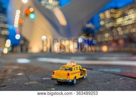 New York, Usa. March 20, 2020. Yellow Classic Taxi Model Parked By The Oculus Station In Lower Manha