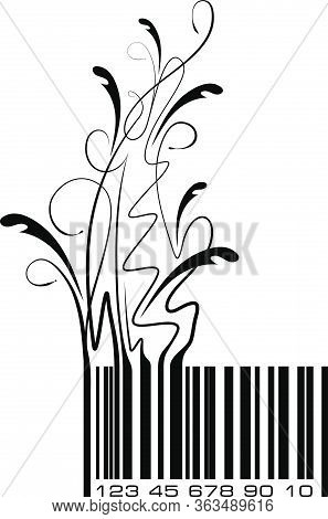 Conceptual Ecological Illustration Bar Code With Floral Branch. Vector.