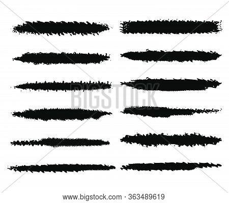 Dozen Of Black Vector Grunge Ink Brush Strokes For Your Design.