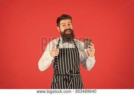 Best Taste Ever. Elegant Confident Bartender. Male Drink Coffee. Bearded Man Hold Take Away Coffee.