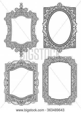 Set Of Ethnic Template Frames  For Design Wedding Invitations And Greeting Cards. Henna Flowers Mehn