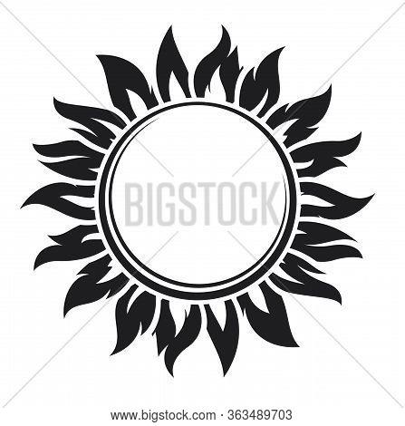 Decorative Black Sun Symbol With Long Rays. Vector Illustration.