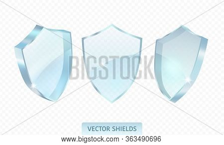 Realistic Glossy Guard Shield Isolated On Transparent Background. Premium Vector Illustration.