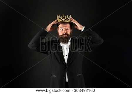Man Representing Power And Triumph. Business King. Businessman Wear Crown. Success In Business. Achi