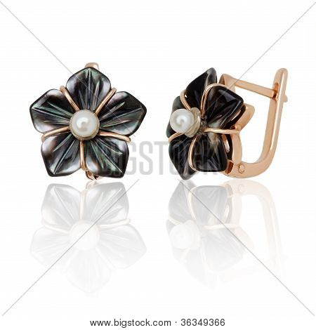Jewelry Earring With Nacre And Pearl On White Background
