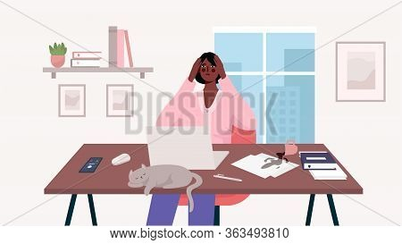 Woman Working At Her Desk With Laptop. Home Office. A Lot Of Work, Overworked, Stress, Deadline, Emo