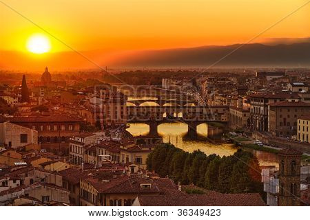 Florence Arno River and Ponte Vecchio at sunset, Italy
