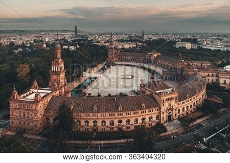 Plaza de Espana or Spain Square aerial view in Seville, Spain