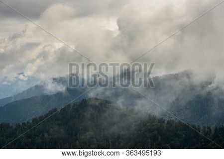 Thick Clouds Cover The Smoky Mountains In North Carolina