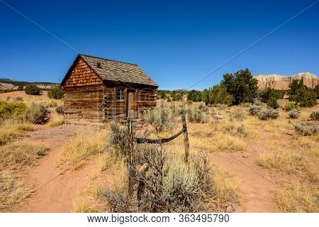 Wide Shot Of Morrell Line Cabin In Utah Desert