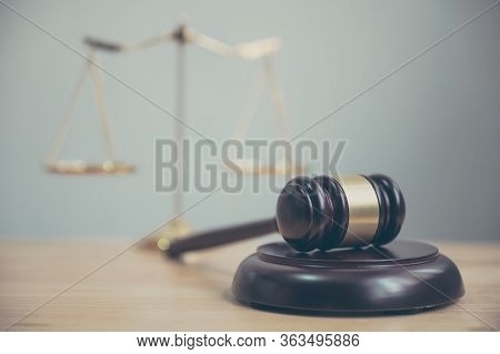 Law And Justice, Legality Concept, Judge Gavel On Wooden Table