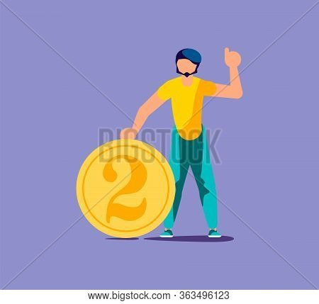 Young Man Holds A Coin Two Cents. Put My Two Cents In Or Cash Back Rewards Metaphor. Isolated On Pur