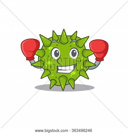 A Sporty Boxing Athlete Mascot Design Of Vibrio Cholerae With Red Boxing Gloves