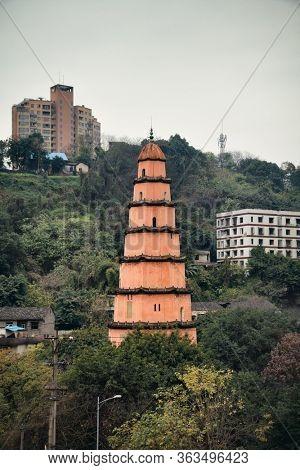 Chinese traditional pagoda in Chongqing China