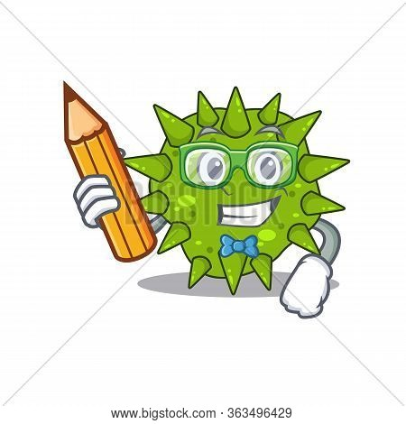 A Brainy Student Vibrio Cholerae Cartoon Character With Pencil And Glasses