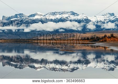 Beautiful water reflection in Jasper National Park in Canada