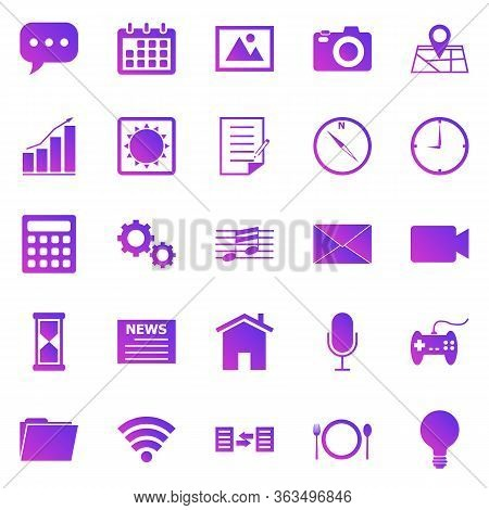 Application Gradient Icons On White Background, Stock Vector