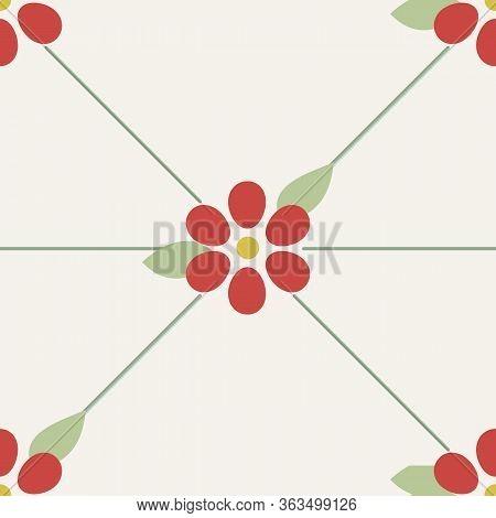 Flower Looking Arrangement Of Cherries Illustration Seamless Pattern Background.