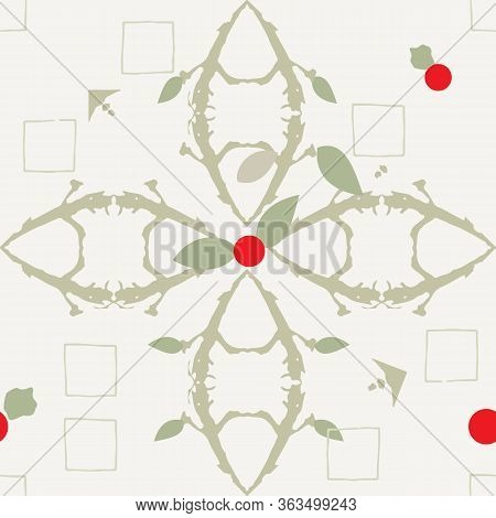 Clean And Bright Arrangements Of Cherries, Leaves, And Branches Illustration Seamless Pattern Backgr