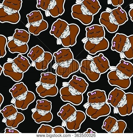 Funny Animals Brown Otter Cranky Pet Cute Seamless Pattern, Animal Beaver Resentful Cartoon Style Wi