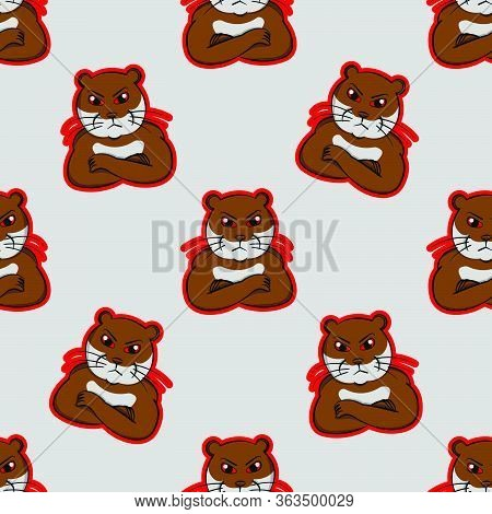 Otter Angry, Face Mad,  Animals Indignant,beaver Resentful Irate Cartoon, Wrath, Annoyed,wroth Brown