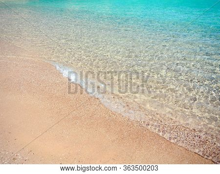 Red Sea Shallow, Medium View. Yellow Sand And Transparent Water Of Egyptian Beach. Abstract Nature B