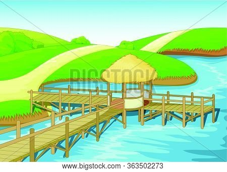 Landscape View Of Grass Field Hill And Lake With Brown Wood Dock Bridge Cartoon Vector Illustration