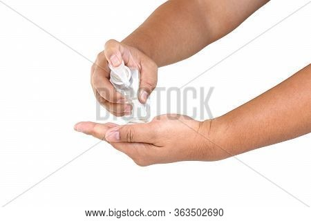 Washing Hands With Alcohol Put In The Palm And Rub All Over The Palm. Back Of Hands And Fingers Unti