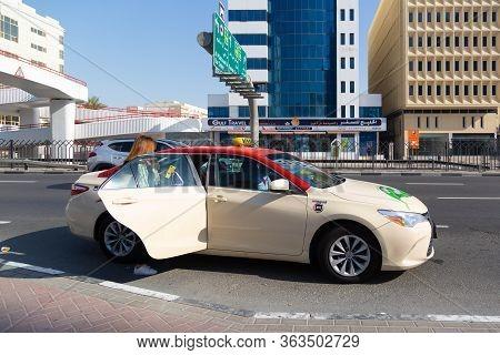 Dubai, United Arab Emirates 03 06 2020: City Taxi. Editorial Dubai City Taxi On The City Streets